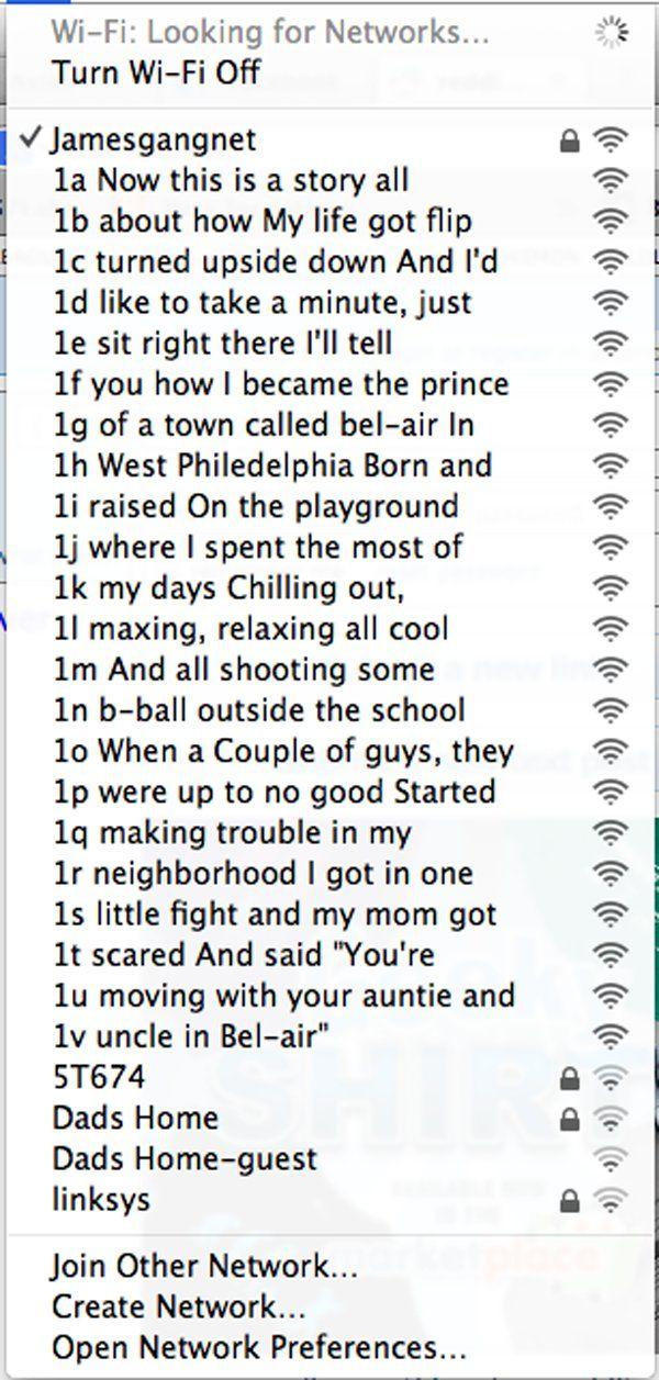 Fresh Prince of Bel-Air Apartment Building WiFi Names