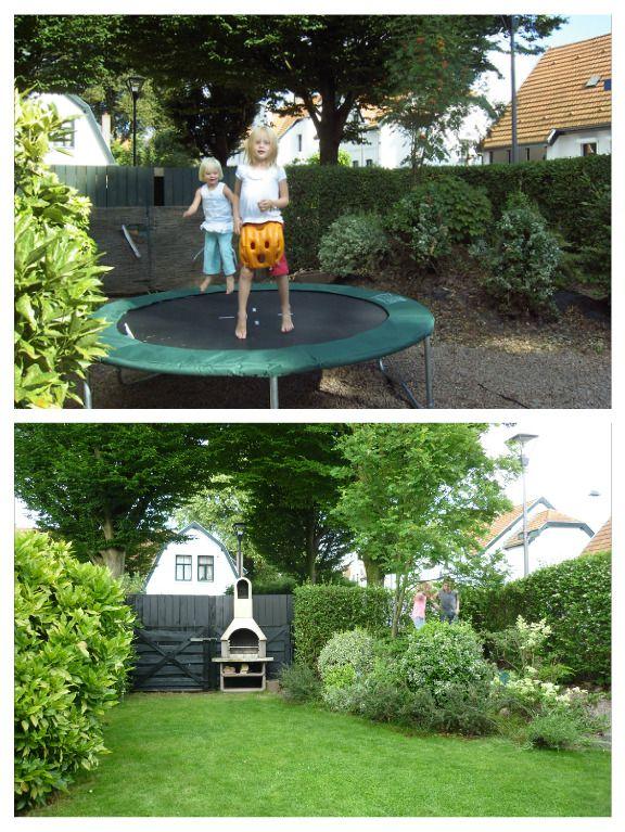Vakantiehuis Buitenlust: toen (2010) en vijf jaar later. De trampoline is ingegraven en het split heeft plaatsgemaakt voor een grasveld; lekker relaxen voor jong en oud bij de buitenhaard/bbq.