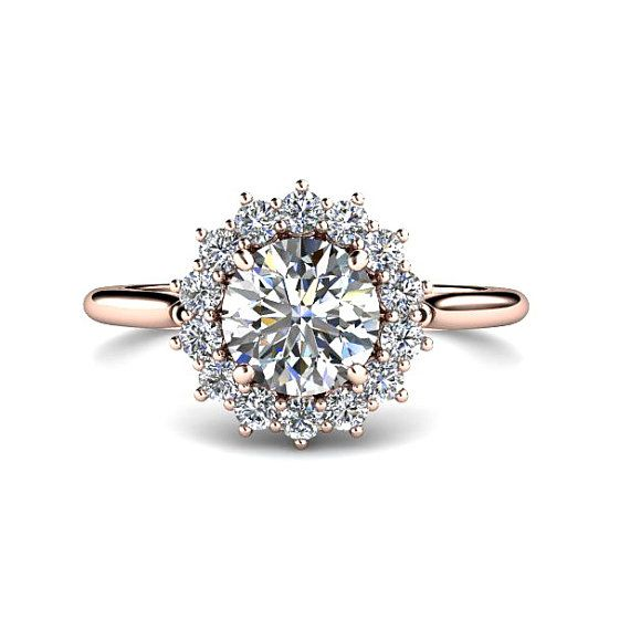 1ct Diamond Engagement Ring Conflict Free Diamond Ring 14K White Yellow or Rose Gold
