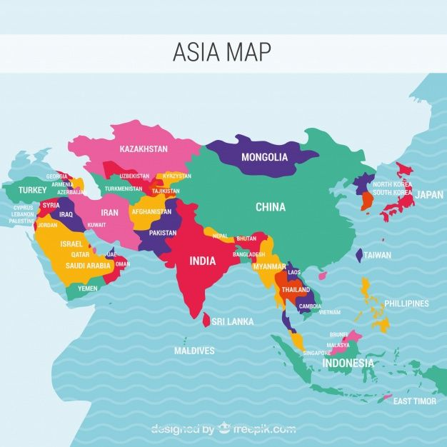 Download Map Of Asia Continent With Different Colors For Free