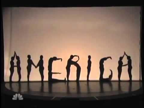 great video for teaching concept of silhouettes and/or basic body shape/outline    The Silhouettes perform for the second time in the Quarter finals. And again, they out stand the judges with the performance. The theme of there performance was American pride
