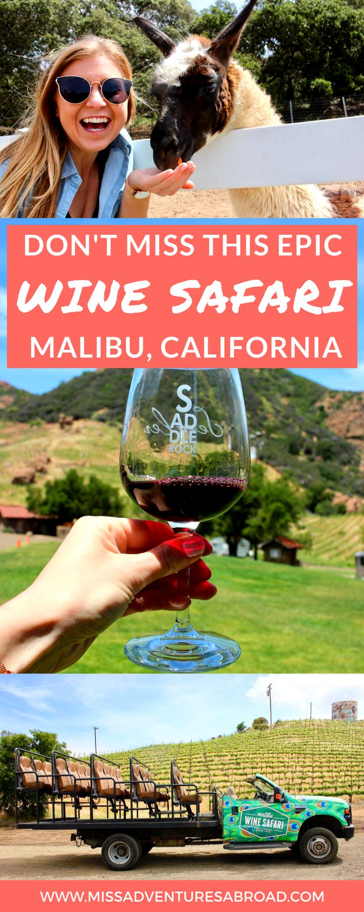 I Went On A Wine Safari In Malibu And It Was Amazing · If you are in Southern California and happen to love wine, animals, or both, then be sure to head to Malibu Wines for a wine tasting Safari! Make friends with llamas, feed a zebra, and taste California wines on the beautiful Saddlerock Ranch in Malibu.