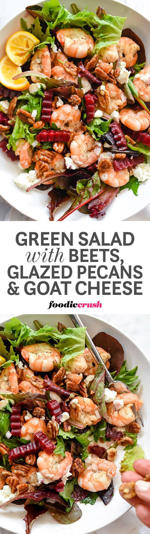 Sweet glazed pecans, roasted beets and goat cheese are added to fresh grilled shrimp over fresh spring lettuces to create a healthy meal in one bowl | http://foodiecrush.com #salad #shrimp