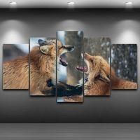 Marco moderno Arte de La Pared Lienzo HD Impreso Pintura Modular Home Decor Fotos 5 Unidades Animal Lobo Perros Lucha Póster Enmarcado