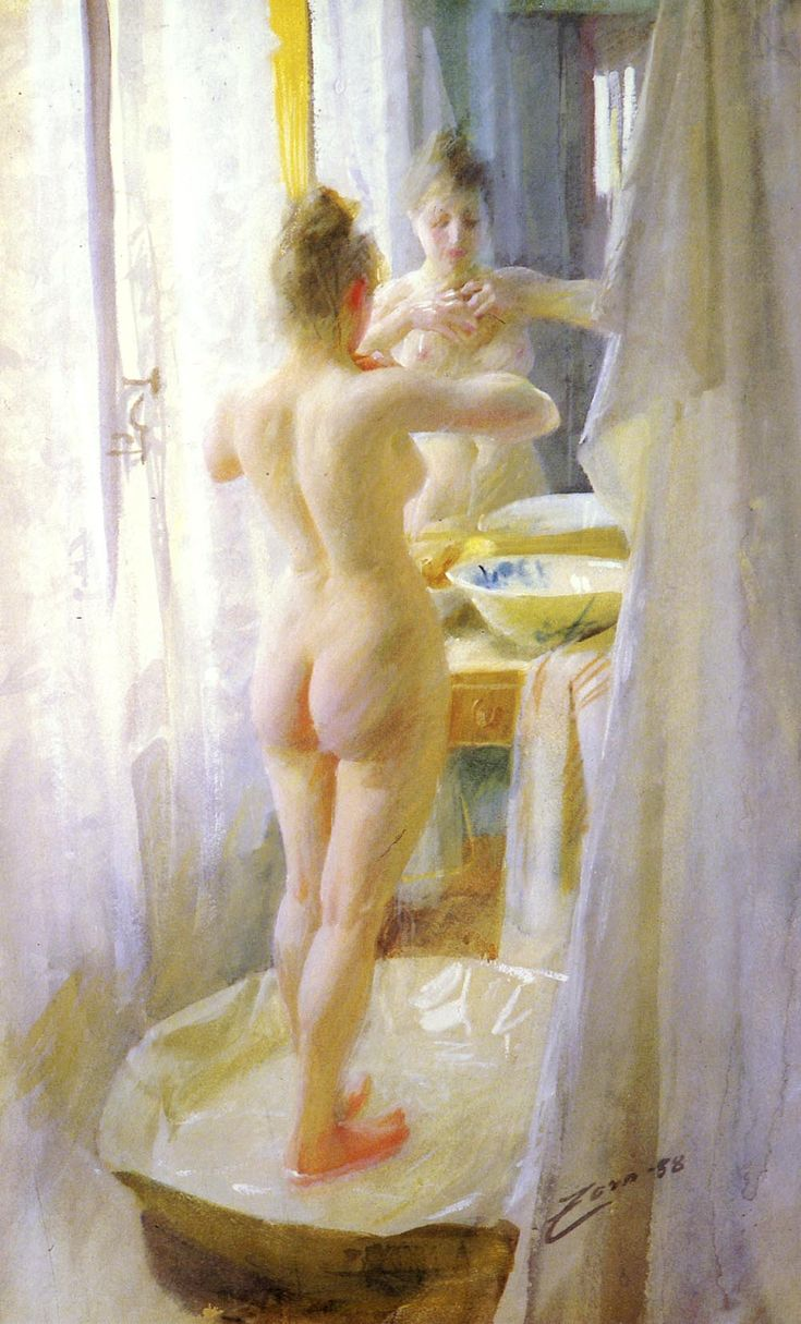Le Tub by Anders Zorn (The tub), Watercolour and gouache on pap