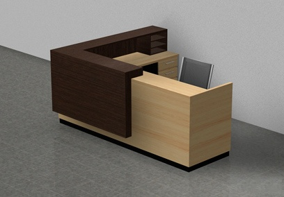 tranisitonal modern reception lobby desk fine wood and stone