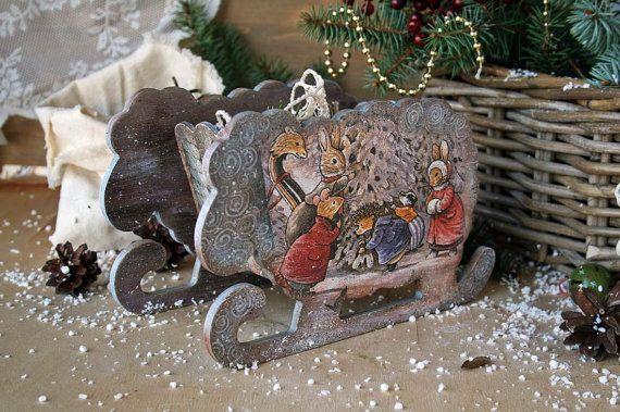 Foxwood tales Winter  decor Toy sleds Winter  Snow от DecoDvorik