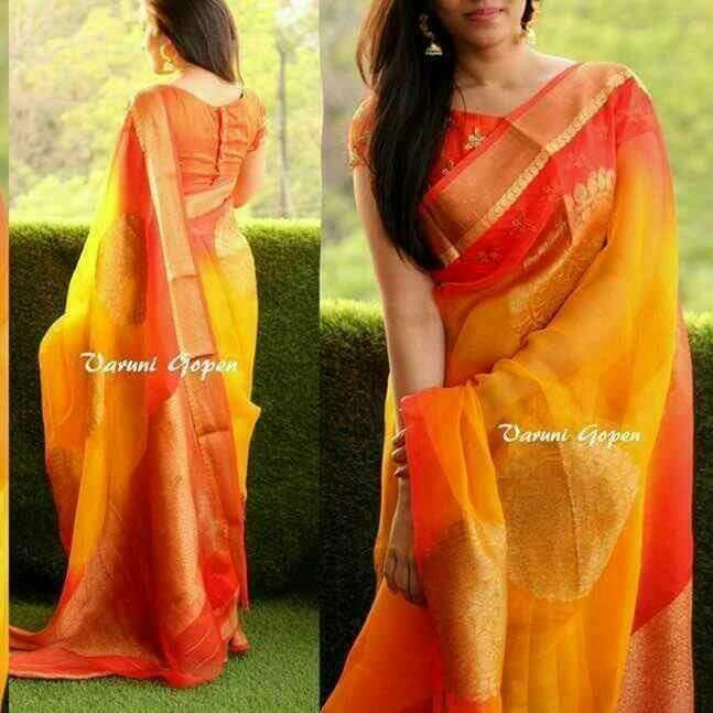 Pure antique gold organza sarees with antique gold brocade blouse