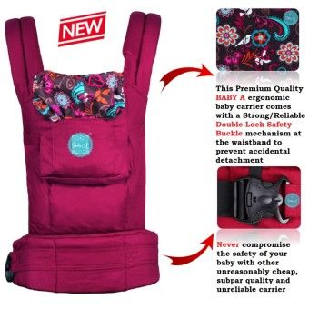 Best Prices BABY A-Premium Double Lock Ergonomic Baby Carrier with Back Support-BlissOrder in good conditions BABY A-Premium Double Lock Ergonomic Baby Carrier with Back Support-Bliss You save BA444TBAWPTEANMY-1086057 Mother & Baby Baby Gear Backpacks & Carriers Baby A BABY A-Premium Double Lock Ergonomic Baby Carrier with Back Support-Bliss