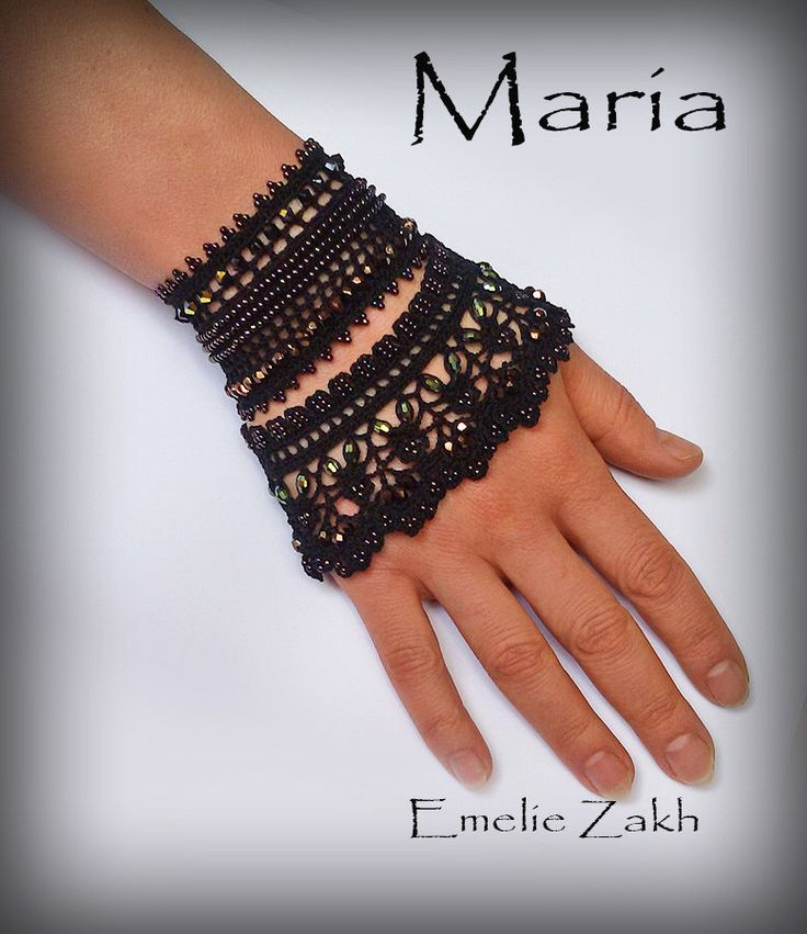 Free shipping.Maria.Black beaded cuff - bracelet with beaded flowers and black crochet laceЖЖ by Emeliebeads on Etsy https://www.etsy.com/listing/220221903/free-shippingmariablack-beaded-cuff