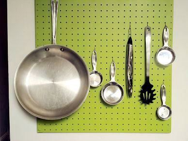 Pegboard for kitchen