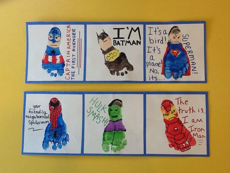 Superhero footprint craft! Infant/toddler room! (Captain America, Batman, Superman, Spiderman, The Hulk and Iron Man)