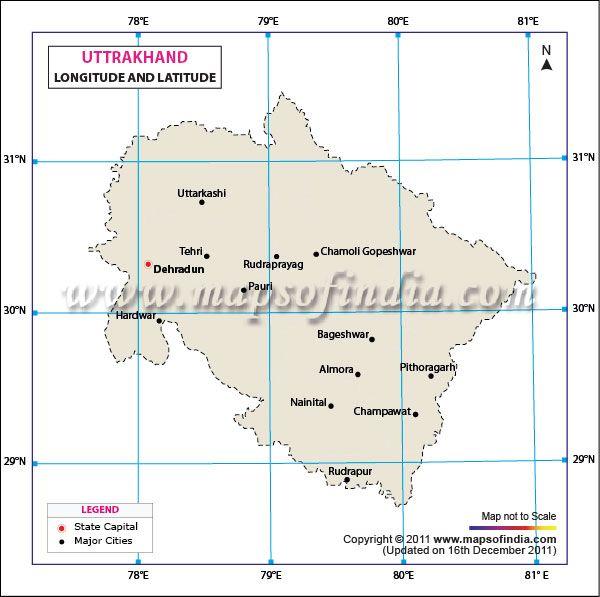 Uttarakhand Lat-Long Map