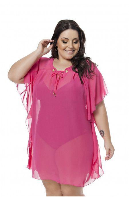 a9fa29257 Vestido saída de praia em chiffon rosa. Modelagem kaftan. Tamaho único.  Decote V