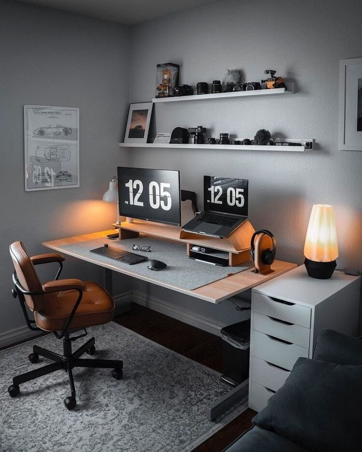 Image may contain: people sitting, screen, office, table and indoor – Modern Home Office Design Home Office Setup, Home Office Space, Home Office Design, Office Table, Office Ideas, Office Workspace, Modern Home Office Desk, Home Studio Setup, Computer Desk Setup
