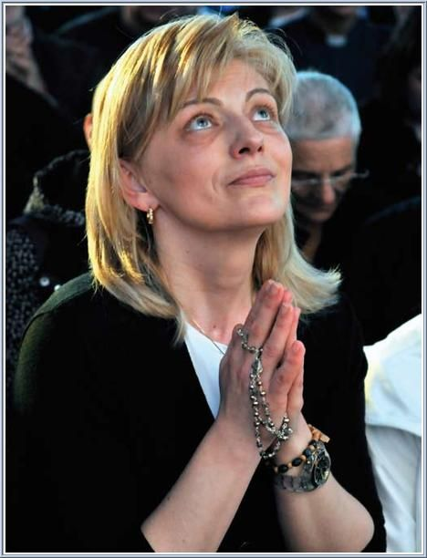 Mirjana during an apparition of the Blessed Virgin Mary in Medjugorje.  June 2, 2012