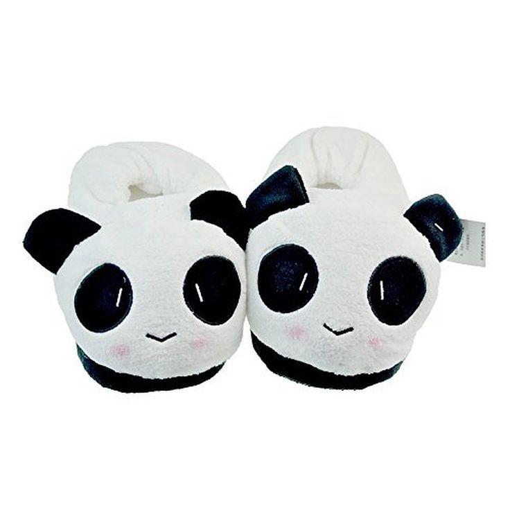 Soft Plush Stuffed Cuddly Panda Winter Novelty Slippers Women Warm Thicken Slippers,white