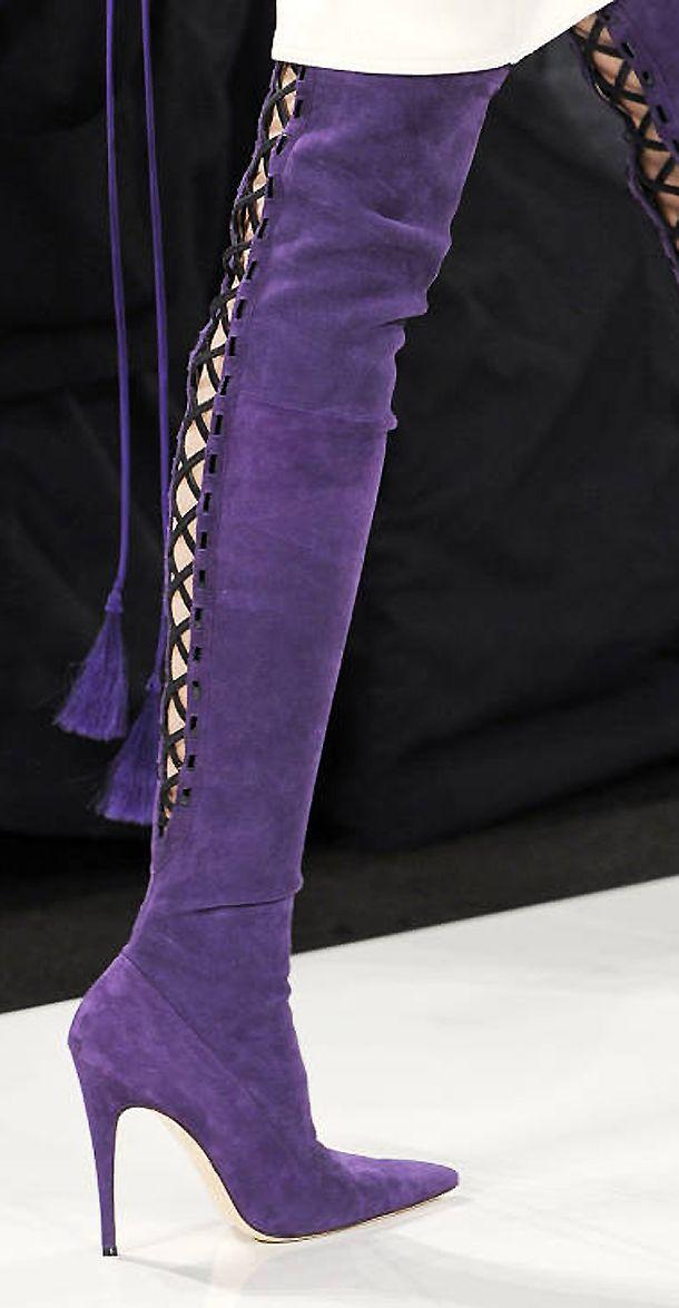 Ralph Rucci Purple Suede  Boots Fall 2013..Fierce!