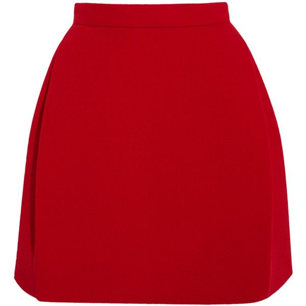DELPOZO Wool-blend crepe mini skirt (1,355 CAD) ❤ liked on Polyvore featuring skirts, mini skirts, bottoms, faldas, red, wool blend skirt, fitted skirts, mini skirt, red tulip skirt en button skirt