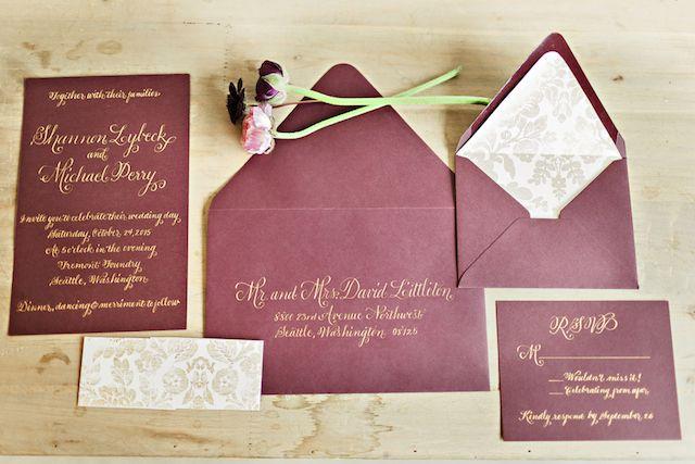 Burgundy wedding invitation suite   Courtney Bowlden Photography   see more on:  http://burnettsboards.com/2015/04/burgundy-gold-wedding-ideas/