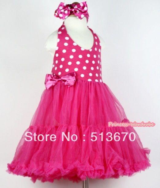 Ярко розовый в белый горошек с цельный Petti платье и ярко розовый повязка на голову с ярко розовый в белый горошек с бантом MALP12