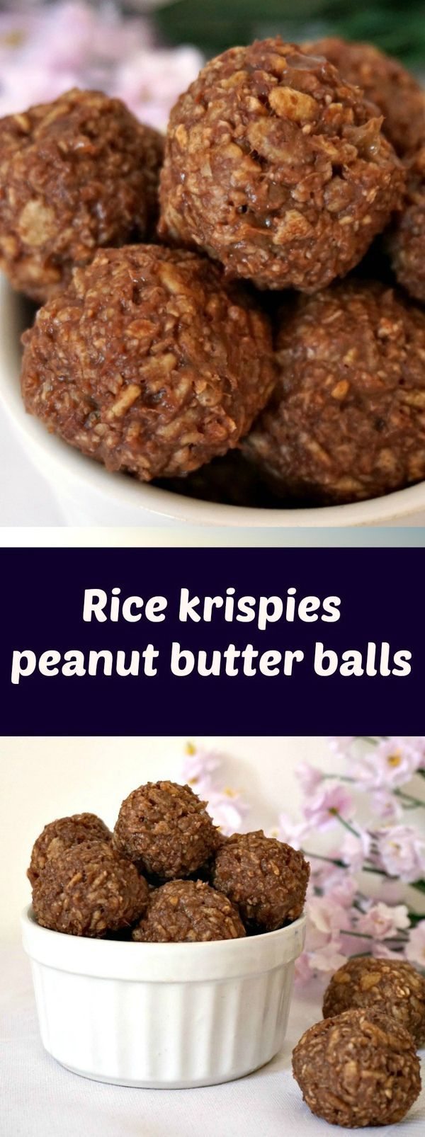 Rice krispies peanut butter balls with no refined sugar added, a healthy snack recipe to fill you up with energy. The best desserts for kids and grown ups.