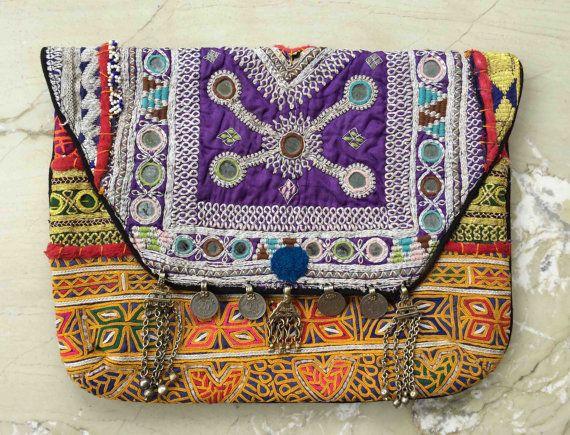 Indien fait à la main pochette Boho, Vintage Gypsy Tribal à la main broderie Banjara embrayage sac à