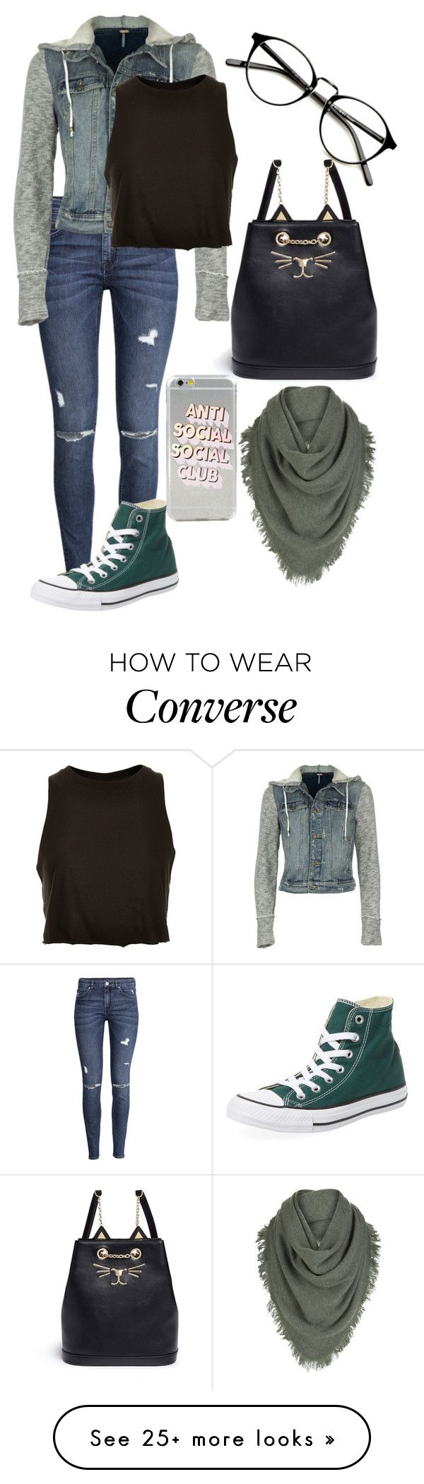 """Untitled #885"" by mriss-abbrie on Polyvore featuring H&M, Free People, Topshop, Charlotte Olympia, Converse and White + Warren"