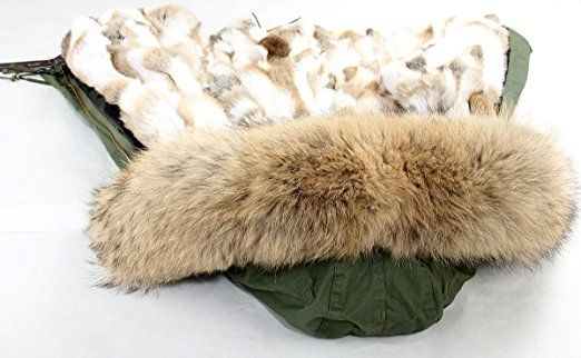 Lea-Marie PARKA XXL Kragen aus 100% ECHTPELZ ECHTFELL Jacke Mantel Khaki Beige Nude KURZ Jacken: Amazon.de: Bekleidung