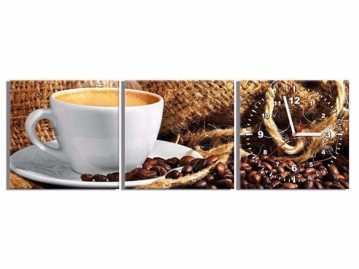 Fotozegar 90x30 Czas na kawę OBRAZY Z ZEGAREM Galeria obrazów Art Verde