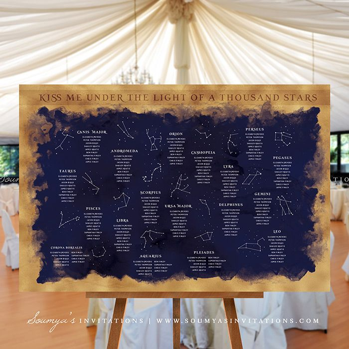 Constellation Starry Night Wedding Signs Decor, Stars Galaxy Celestial Wedding Seating Chart, Constellation Table Numbers, Navy Blue and Gold Wedding, Printable Wedding Signs «  Wedding Invitations | Soumya's Invitations
