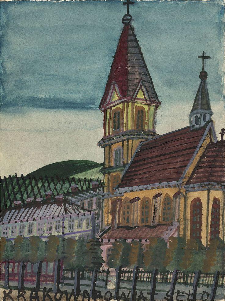 NIKIFOR KRYNICKI(EPIFANIUSZ DROWNIAK) (1895 - 1968)   KOŚCIÓŁ
