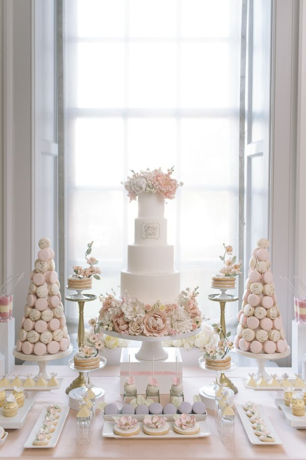 Classic pink inspired dessert table: http://www.stylemepretty.com/canada-weddings/ontario/toronto/2016/03/28/pretty-in-pink-romantic-garden-inspired-fall-wedding/ | Photography: Mango Studios - http://mangostudios.com/
