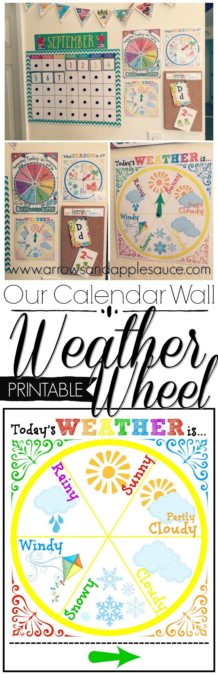 We're learning about the weather with this fun and colorful weather wheel! Perfect for circle time and it looks great on our calendar wall.