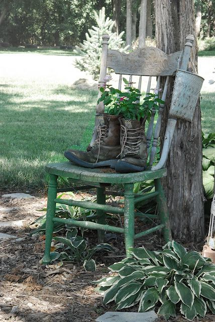 Garden Chair and Boot Planters http://www.jillruth.com/2011/08/paulas-garden-year-3.html #garden #decor #planter #chair #ideas #outdoor #spaces