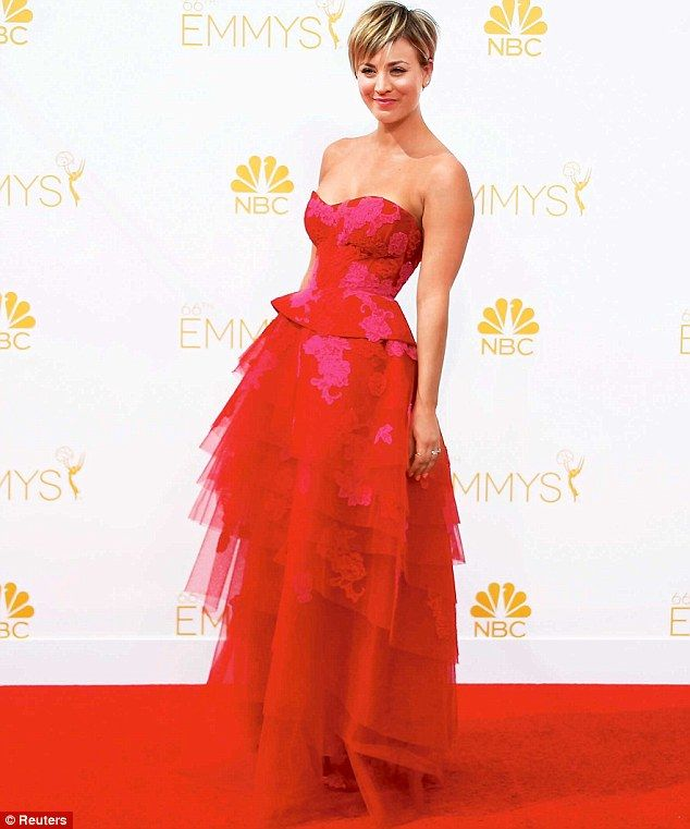 Blonde beauty: The Big Bang Theory actress - pictured at the Primetime Emmy Awards last mo...