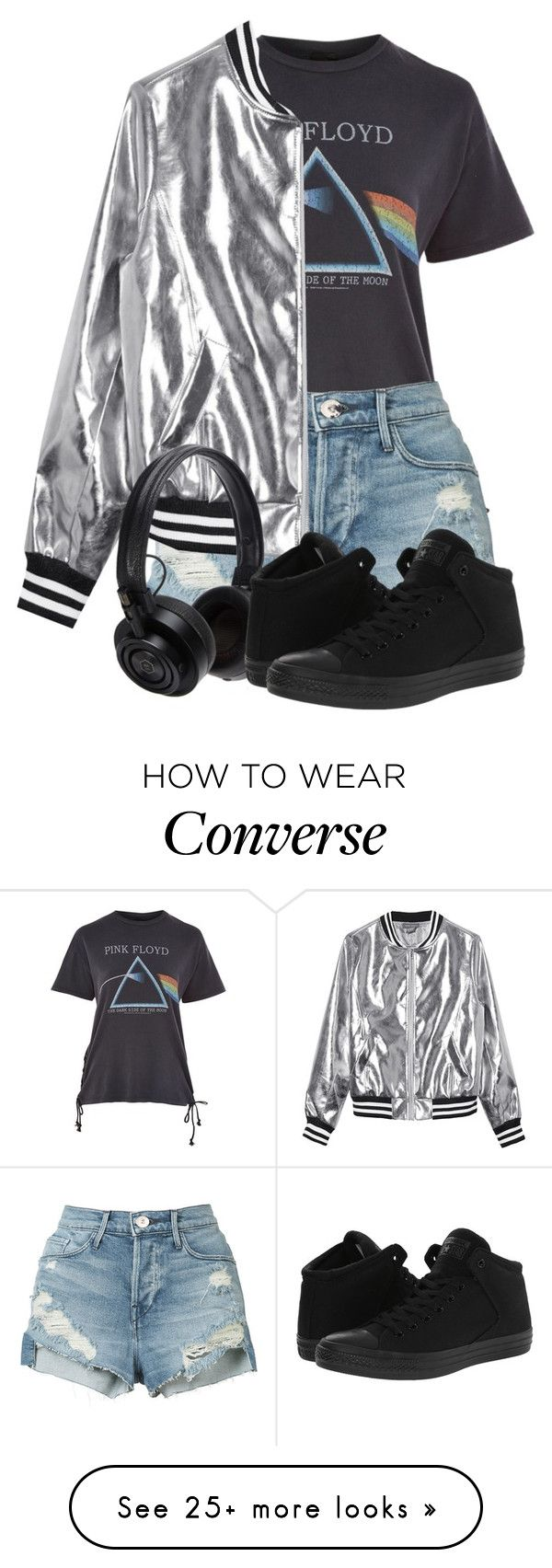 """Quicksilver Style"" by mfkapocias on Polyvore featuring Topshop, 3x1, Sans Souci, Master & Dynamic, Converse, Silver, shorts, converse and bomber"