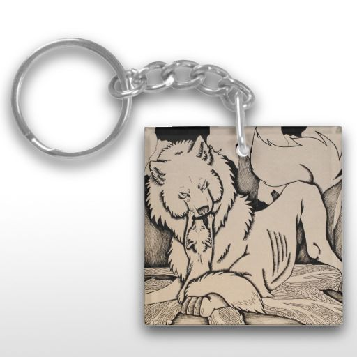 """Play Date"" Black and white wolf and fox Keychain"