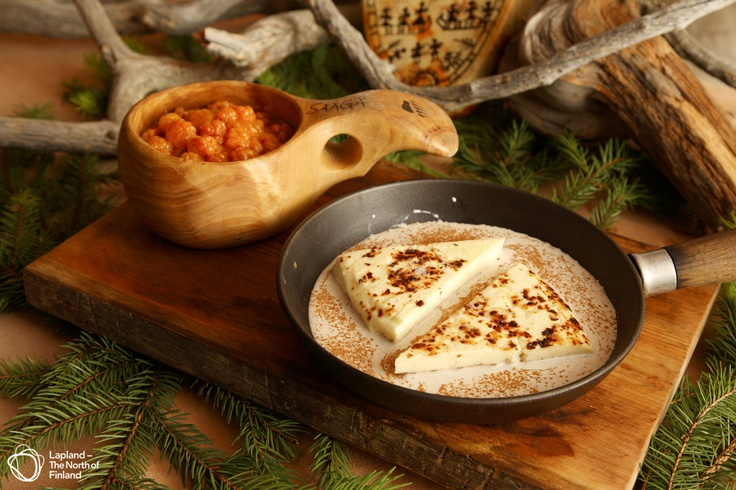Traditional Finnish squeaky cheese served with cloudberry