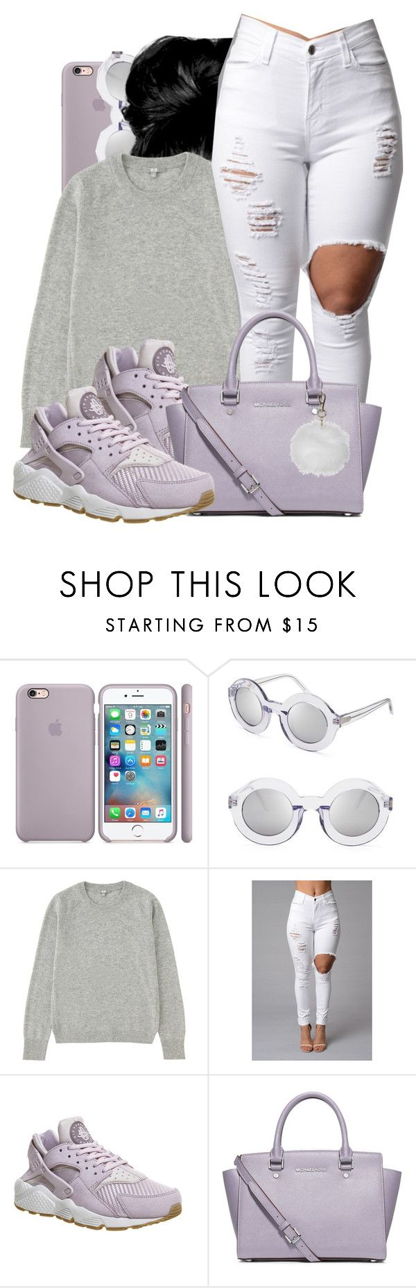 """Untitled #581"" by b-elkstone ❤ liked on Polyvore featuring Wildfox, Uniqlo, NIKE, MICHAEL Michael Kors and Topshop"