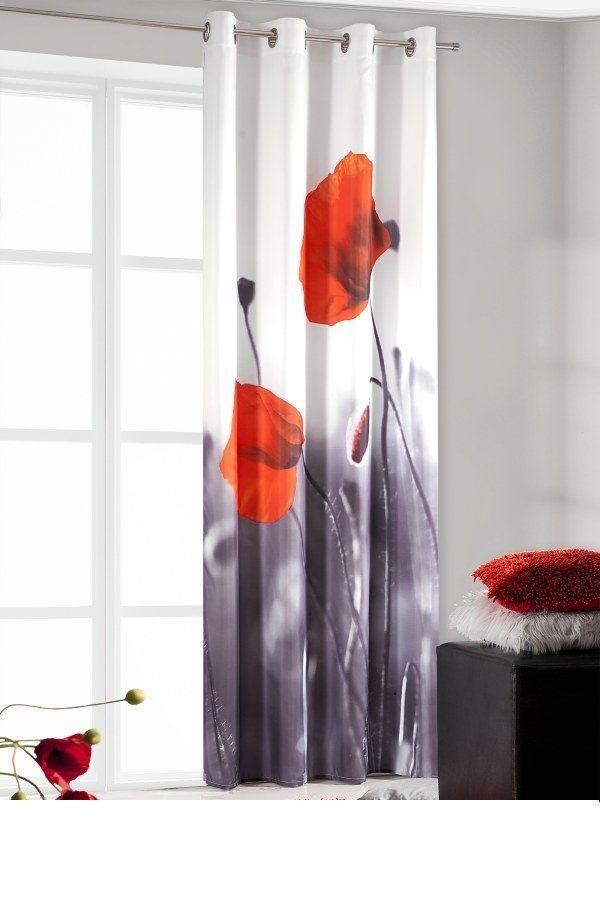 Czerwone maki biało czarna zasłona do sypialni