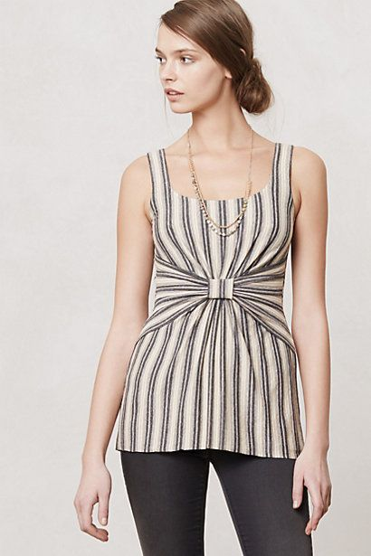 Refashion a Man's Shirt: Remove sleeves and use the excess material to make the bow/gathering in the middle.} could be a slimming waistline? Ruled  Knotted Tank #anthropologie