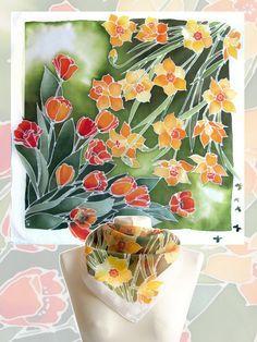 Pañuelos cuadrados Tulip y Narciso es una mano pintada bufandas con diseño floral terminado con borde blanco.  La bufanda de seda Tulip y Narciso puede ser usada en ambos sentidos: puede colocar Narciso amarillo en la parte superior o puede hacerlo en bufanda Tulip colocando tulipanes rojos en la parte superior. El borde blanco se agrega para la bufanda de elegancia y delicadeza.  Esta bufanda del resorte se hace a pedido y necesito 5-7 días para la pintura! Tenga en cuenta que no realizar…