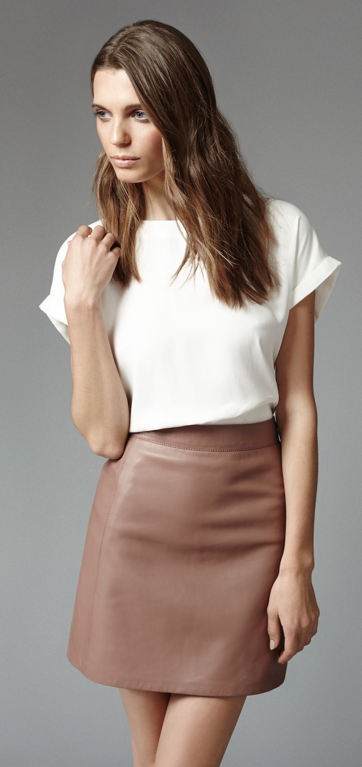 silk top but not a shirt - not-too-tight leather skirt in neutrals