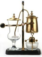 Belgium Royal 4C Cafe GOLD Balance Syphon Coffee Maker. Totally fascinating to read how this contraption actually makes coffee.