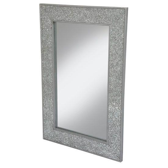 Clara Wall Mirror Rectangular In Silver Mosaic Frame - Buy Wall Mirrors, Gold, Vintage, Wooden, Furnitureinfashion