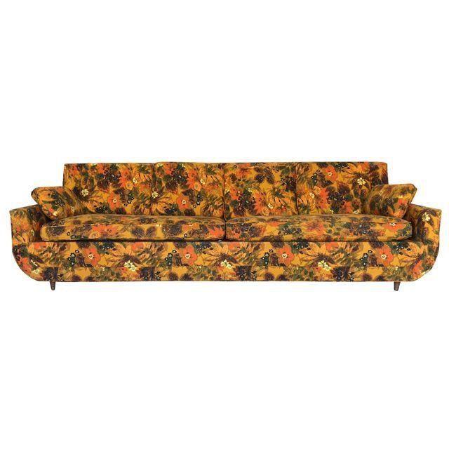 1967 Vintage Bernard Castro Mid Century Modern Floral Sleeper Sofa #Bassett #Asian