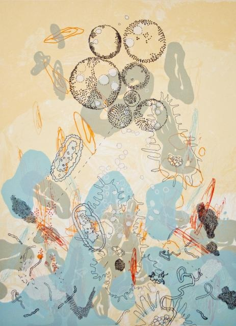 """Rosane Volchan O'Conor, Dois mil e dose linhas e pontos, 2011 (Screen Print / Edition of 50). """"My art is organic. I am influenced by both music and biology. My installations are a three dimensional rendition of my narrative paper monoprints in which I visualize the idea of rhythm and most of all, the idea of polyphony; where each melodic line has an autonomous function but also synthesizes perfectly within the whole."""" To purchase: http://serieproject.org/?product=rosane-volchan-oconor"""