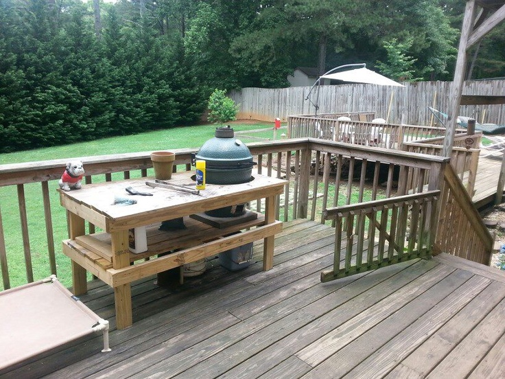 Babes big green egg table. Wants to update. Didn't cost much to build. To buy one of these stands at the store could cost hundreds of dollars.