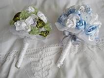 Svadba - Svadobná kytica v zelenom a v modrom